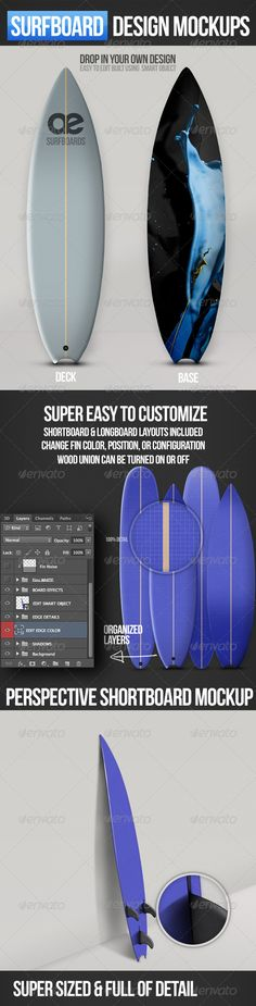Surfboard Mockups  #longboard #smart • Click here to download ! http://graphicriver.net/item/surfboard-mockups/3173592?ref=pxcr
