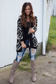Magnolia Boutique Indianapolis - Southern Comfort Aztec Open Cardigan - Black, $39.00 (http://www.indiefashionboutique.com/southern-comfort-aztec-open-cardigan-black/)