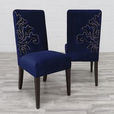 Belvedere Dining Chairs by Haute House. Love them in this navy velvet!