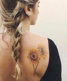 Intricate Sunflower Tattoo Design on Shoulder for Women