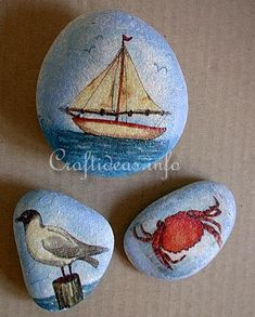Tutorial: Create maritime-themed rocks by decoupaging them with paper napkins.