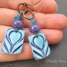 Art Deco style tulip ceramic artisan earrings by BeadyDaze on Etsy