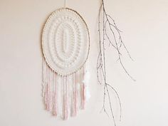 Dream catcher wall hanging large white pink beige bohemian boho home macrame lace