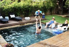 Small Backyard Pools, Small Inground Pool, Pools For Small Yards, Hot Tub Backyard, Small Swimming Pools, Backyard Pool Landscaping, Backyard Pool Designs, Swimming Pools Backyard, Pool Spa