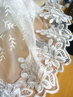off white alencon lace trim bridal lace trim. white by LaceFun