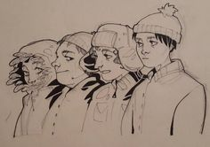 The Boys ~ ink illustration Gesture Drawing, Drawing S, Character Creation, Character Design, Kenny South Park, Demon Days, Sketchbook Inspiration, Ink Illustrations, Cute Drawings