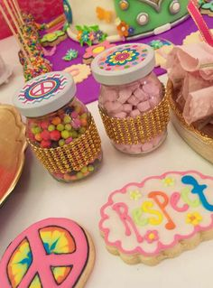 1970's themed treats at a hippie chic birthday party! See more party ideas at CatchMyParty.com!