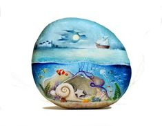 Painted stone, sasso dipinto a mano. Magical Underwater
