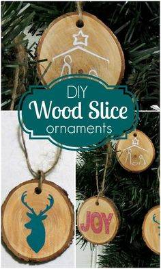 DIY Wood Slice Christmas Ornaments craft tutorial
