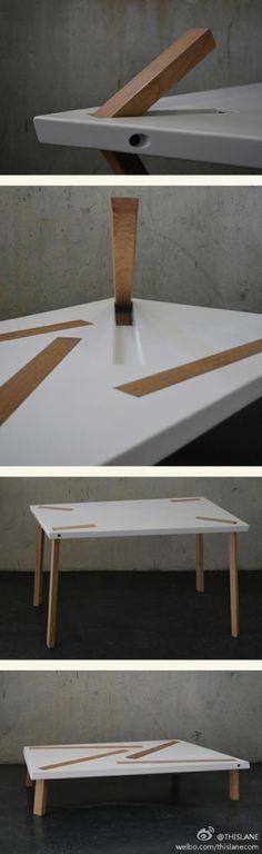 """德国斯图加特应用科技大学室内设计专业学生Philipp Grundhoefer设计的这款叫做""""随机""""(Random)桌子,可以按需转换作为桌子或者茶几使用,巧妙在于实心项目L形设计的桌腿,采用扳扣的设计,桌面两面留有于桌腿长短相配的凹槽,按需要把桌腿一边扣在凹槽里,与桌面融为一体。"""