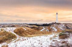 Lyngvig Fyr at cold winter morning - The Lyngvig Fyr near Hvide Sande at a cold winter morning in january