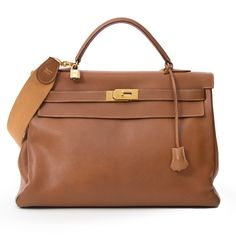 vintage Hermes Kelly 40cm Gold in Veau Graine Courchevel leather