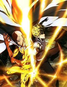 One punch Man - Saitama and Genos - The best team ever .The Handsome Boy and The suppository I'm Sorry Saitama you know i Love you All The same Saitama One Punch Man, One Punch Man Anime, One Punch Man 2, One Punch Man Poster, One Punch Man Season, Season 2, One Punch Man Funny, Otaku Anime, Manga Anime