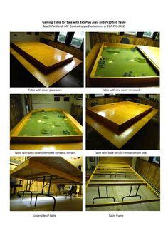 Gaming table with an play area and a sub-table This table has all the great basics, but I would do a with a internal area and no folding legs. Wargaming Table, Wargaming Terrain, Board Game Table, Board Games, Game Tables, Table Frame, A Table, Warhammer Terrain, Warhammer 40k