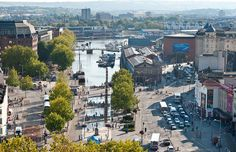 View of central Bristol from the Colston Tower. Bristol City Centre, Dubai Architecture, Great Buildings And Structures, Education Humor, Travel Quotes, Great Places, Paris Skyline, The Neighbourhood, Tower