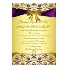 Purple And Gold Wedding Invitation Templates