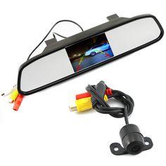 Einparkhilfe 2 in 1 4,3/5 Digital TFT LCD Spiegel Auto Parkplatz Monitor + 170 Grad Mini Auto rückansicht kamera