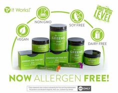 ALL NEW GREENS!  •Acidity-fighting magnesium and potassium blend •52 herbs and nutrient rich superfoods •34 fruits and veggies •Matcha Green Tea Added •Allergen-Free. Soy-Free. Dairy-Free. Vegan. Non-GMO. •No artificial colors, flavors or sweeteners •Sweet berry flavor