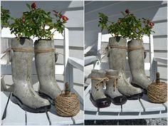 Concrete welly plant pots