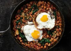 Spinach with Chickpeas and Fried Eggs - Bon Appétit  http://www.bonappetit.com/recipe/spinach-with-chickpeas-and-fried-eggs