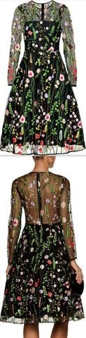 'Lou' Floral Embroidered Dress, Black