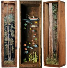 Magical tiny worlds by Allison May KiphuthAllison May Kiphuth is a New Hampshire Seacoast-based diorama artist and nature enthusiast who spends a large portion of her time putting big landscapes into. Shadow Box Kunst, Shadow Box Art, Ocean Diorama, Matchbox Art, Tiny World, Assemblage Art, Book Nooks, Altered Tins, Shadow Box