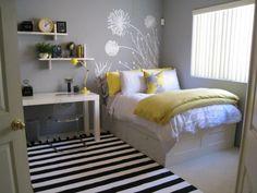Chambre fille ado déco jolie avec stickers de mur (sans le jaune)