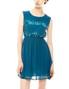 Teal sequin silk dress