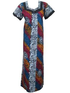 Kaftan Caftan Blue Red Printed Summer Cotton Maxi Dress for Womans Large
