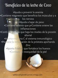 Beneficios de la leche de coco Yummy Drinks, Healthy Drinks, Healthy Recipes, Health And Nutrition, Health Fitness, Hair Up Styles, Vegan Milk, Health Coach, Natural Health