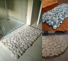 Incredible Wool Stones Rug Looks Like Connected Pebbles Tuscan Furniture, Unique Furniture, Home Furniture, Stone Rug, Pebble Stone, Home Decor Kitchen, Diy Home Decor, Rock Painting Supplies, Tuscan Bathroom
