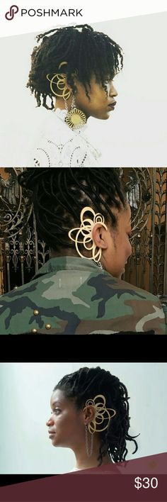 Avant garde ear cuff Birch wood, nickel free ear hook sarah Juanita creates Jewelry