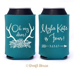 Oh My Dear Birthday Can Coolers // Oh Deer Antlers Flowers with Fun, Elegant Script // Personalized Birthday Party Favors