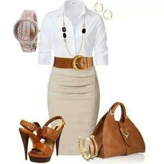 Brown/cream/white office attire