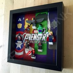 Lego Avengers Black Frame Display With Minifigures Side View