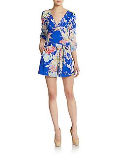 Yumi Kim Liz Floral Print Short Jumpsuit - Blue Hawaii - Size