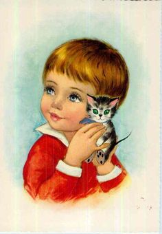 Vintage postcard from the In very good vintage condition Nice to be framed, or . just to collect. Size approx 4 x inch Will ship Vintage Postcards, Vintage Images, Vintage Cat, Portrait Photo, Vintage Children, Cute Drawings, Disney Characters, Fictional Characters, Beautiful Pictures