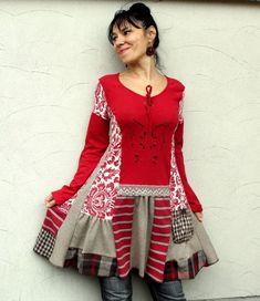 Романтический переработаны платье-туника искусство Boho цыганский стиль по jamfashion,