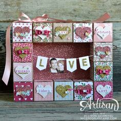 Create a fun Valentines Day Countdown using the Love Blossoms DSP, Love Blossoms Embellishment Kit, and First Sight stamp set. - Allison Okamitsu