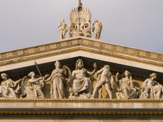 Pediment Sculptures Above the Colonnade  of the Academy of Athens