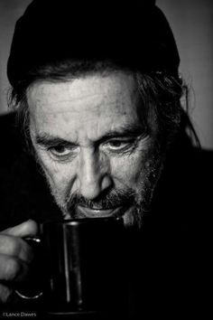 Al Pacino with coffee. Al Pacino ©Lance Dawes Al Pacino, Charlie Chaplin, People Drinking Coffee, Cinema, Celebrity Portraits, The Godfather, Documentary Film, Best Actor, Famous Faces