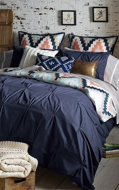 navy blue pin tucked duvet cover