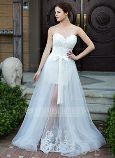 A-Line/Princess Sweetheart Floor-Length Detachable Satin Tulle Wedding Dress With Lace Beading Bow(s) (008026096) - JJsHouse