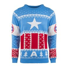 f61214425 Captain America: Red White And Blue Knitted Christmas Sweater