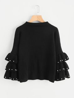 To find out about the Pearl Beading Layered Bell Sleeve Jumper at SHEIN, part of our latest Sweaters ready to shop online today! Girls Fashion Clothes, Girl Fashion, Clothes For Women, Womens Fashion, Fashion Black, Sweater Outfits, Casual Outfits, Cute Outfits, Vetements Shoes