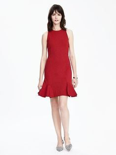 Banana Republic Ponte Dress w/ Flounce Skirt (in Red or Blue)