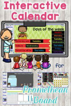 Kindergarten Calendar, Classroom Calendar, Dual Language Classroom, Music Classroom, Smart Board Lessons, Promethean Board, Interactive Board, First Grade Math, Beginning Of School