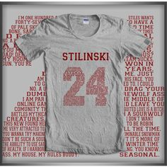 PixelsGeek Stilinski 24 Quote Teen Wolf Beacon Hills Lacrosse Maroon... ($18) ❤ liked on Polyvore featuring tops, t-shirts, white, women's clothing, cotton t shirts, cotton tee, white t shirts, white cotton t shirts and white cotton tops