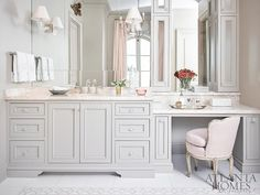 Tile Border Rug, Vanity area, (ornate cabinets) Pink and Gray Master Bathroom with Pink Velvet French Vanity Chair Glamorous Bathroom, Beautiful Bathrooms, Feminine Bathroom, Bad Inspiration, Bathroom Inspiration, French Vanity, Master Bathroom Vanity, French Bathroom, Bathroom Pink