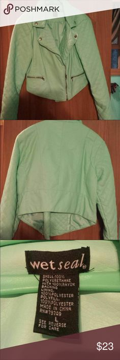 Moto Jacket Teal quilted moto jacket size large Wet Seal in great condition, only worn once Wet Seal Jackets & Coats
